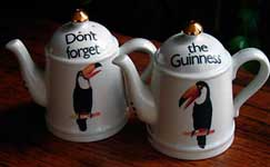 Fake Carlton Ware Guinness salt & pepper in the form of teapots 1