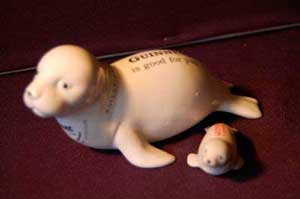 Fake Carlton Ware Guinness seal and pup
