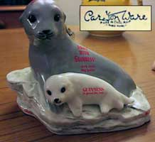 Fake Carlton Ware Guinness seals on rock