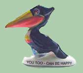 Fake pelican decorated as a toucan!