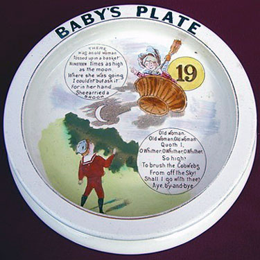 Carlton Ware Baby's Plate - There was an old woman Tossed up in a basket