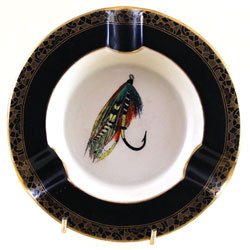 Carlton Ware PRINCE ashtray decorated with Jock Scott fishing fly.