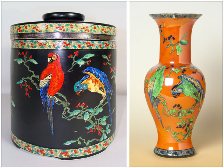 Carlton Ware PARROT humidor and baluster vase.