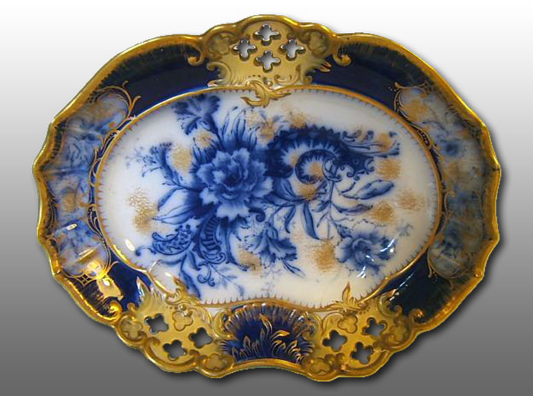 Carlton Ware flow blue & gilt CARNATION decoration