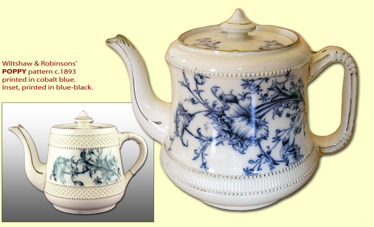Carlton Ware Blue & White POPPY pattern teapots