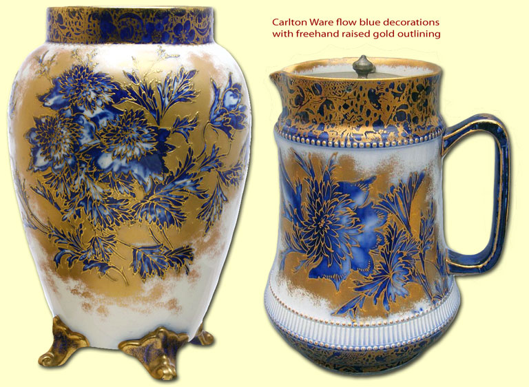 Carlton Ware flow blue decorations with raised gold