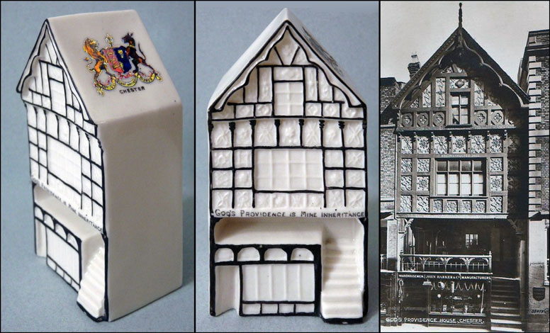 Carlton China model of Chester's God's Providence House and a contemporary postcard of the building.