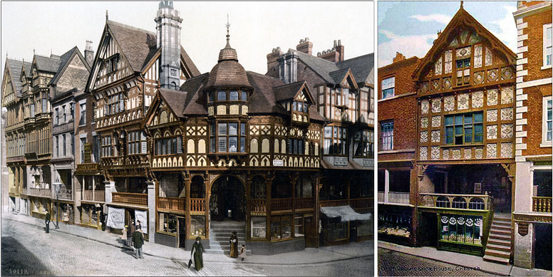 Postcard of The Cross & The Rows, Chester and a postcard of Chester's God's Providence House.