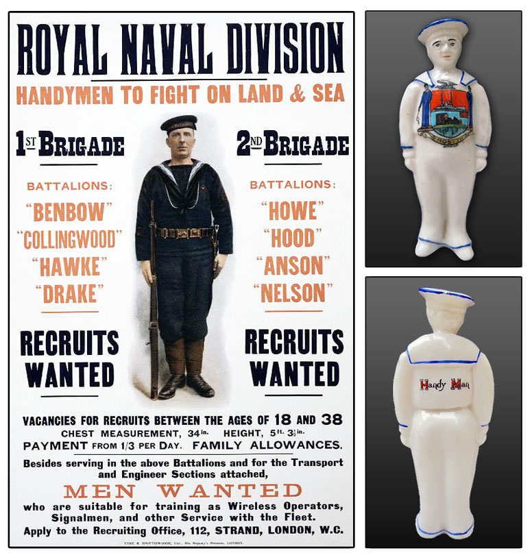 Royal Naval Division recruitment poster and Cartlon Ware model of a sailor.